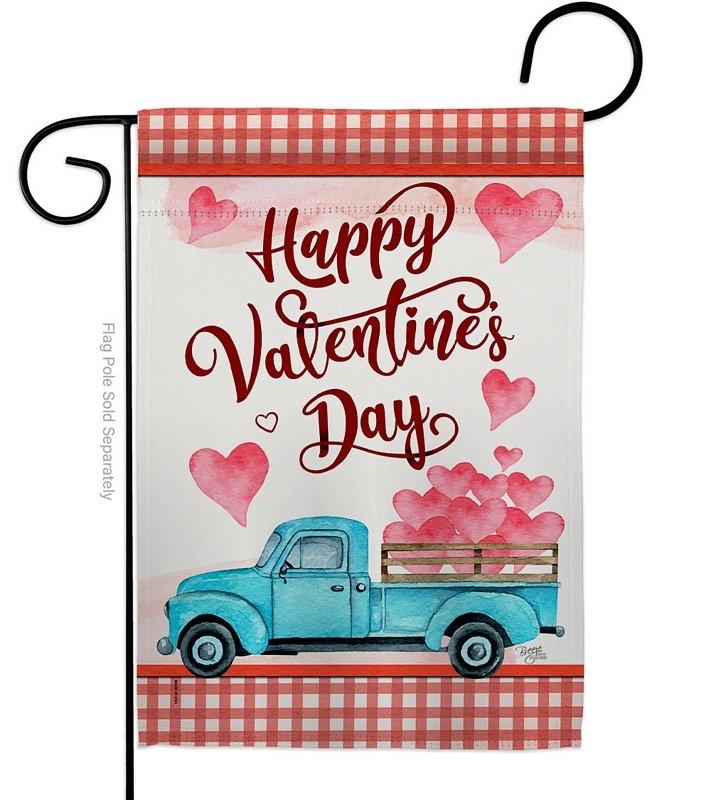 Valentines Truck Garden Flag