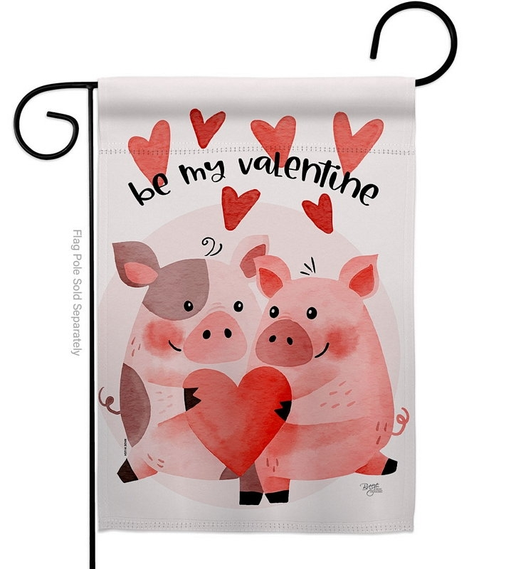 Valentines Piggy Garden Flag