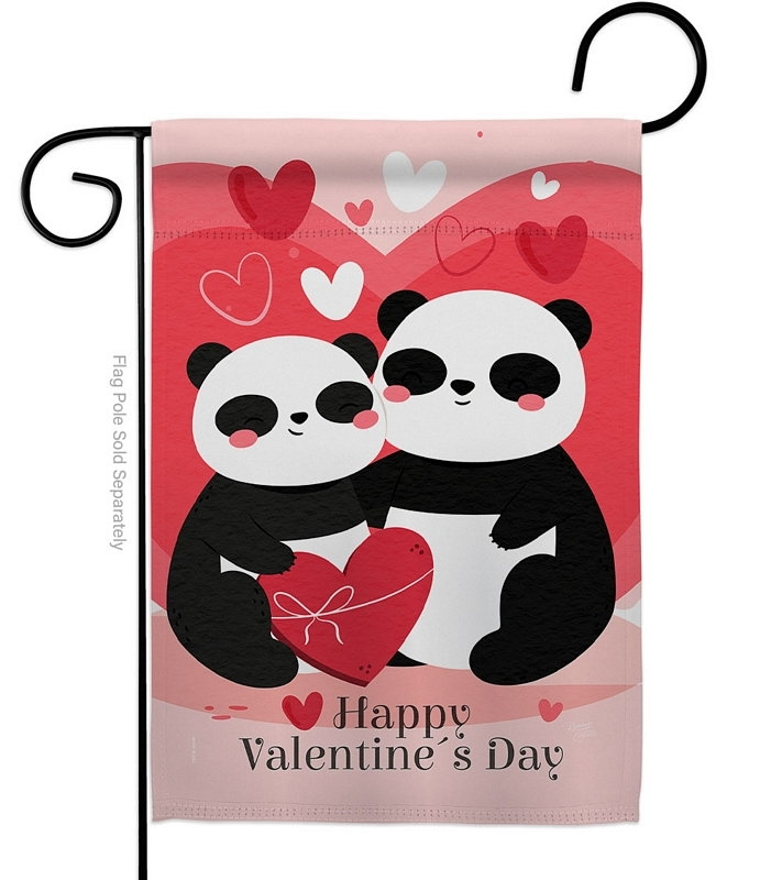 Panda With Love Garden Flag