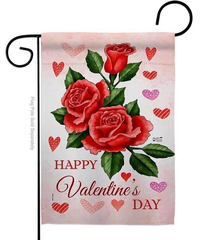 Valentines Rose Garden Flag