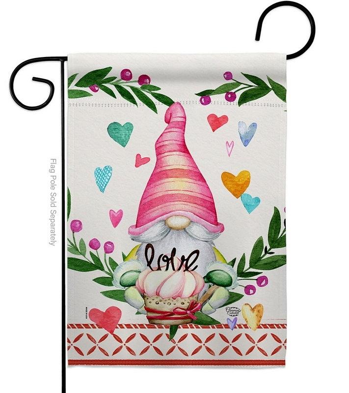 Gnome Give Love Garden Flag