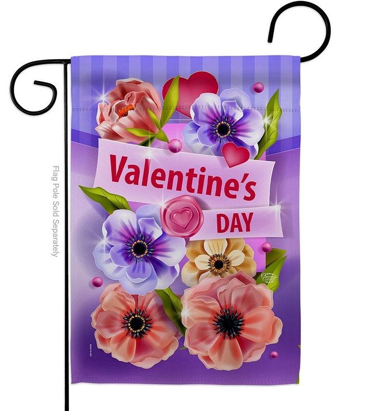 Valentines Floral Garden Flag