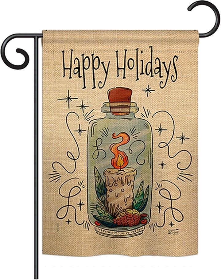 Sparkle Happy Holidays Double Burlap Garden Flag