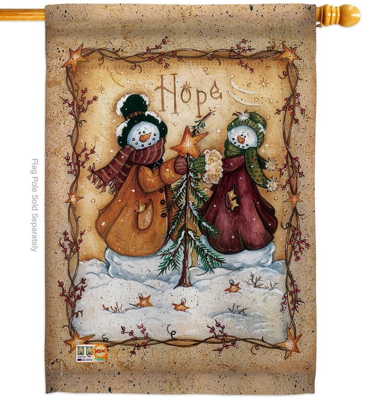 Christmas Hope Snowman House Flag