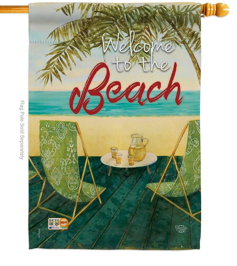 Welcome To The Beach Decorative House Flag