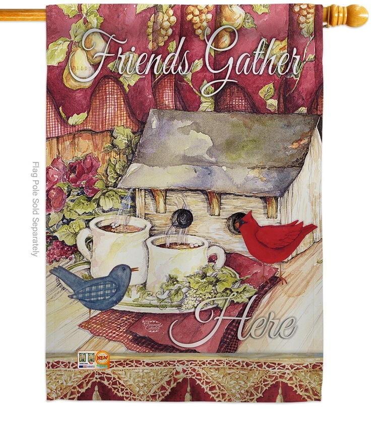 Friends Gather Here Decorative House Flag