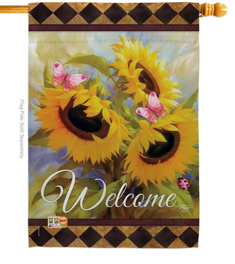 Welcome Sunflower Spring House Flag