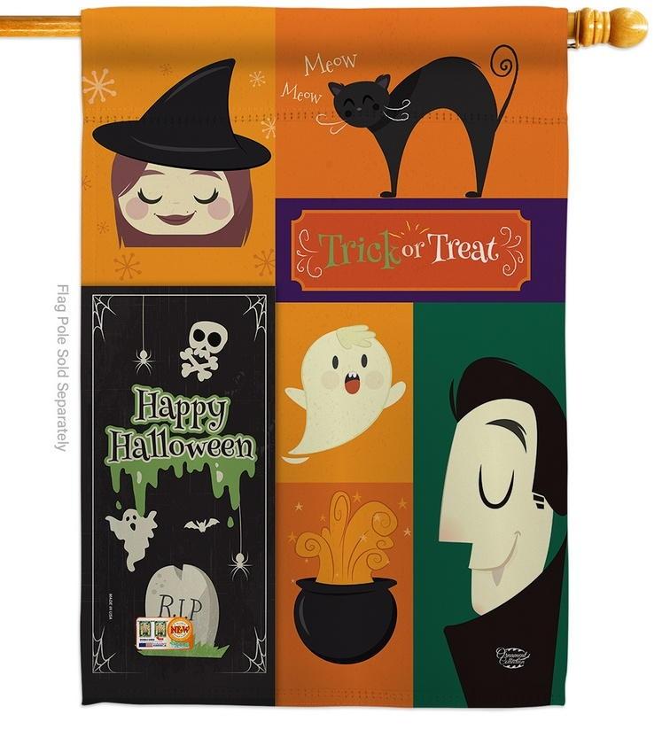 Halloween Trick Or Treat House Flag
