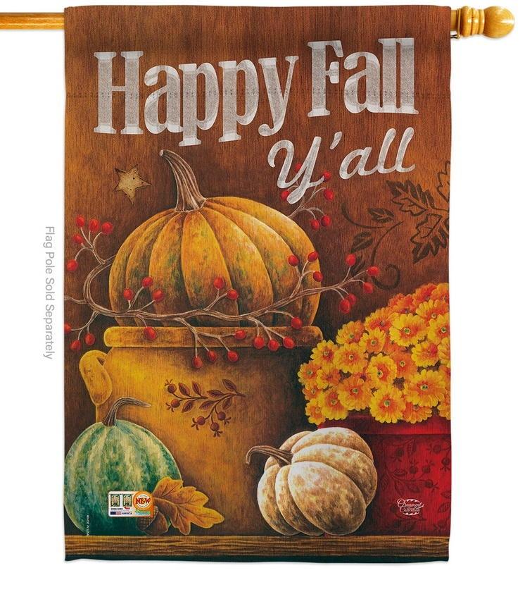 Happy Fall Y'll Pumpkins House Flag