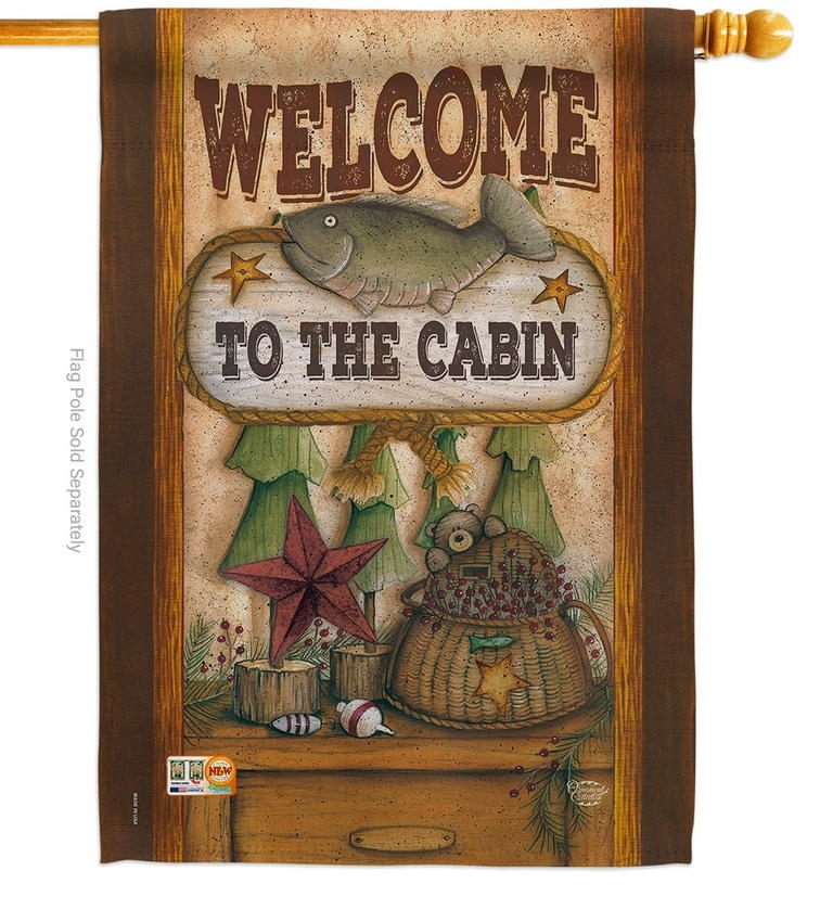 Welcome To The Cabin Decorative House Flag