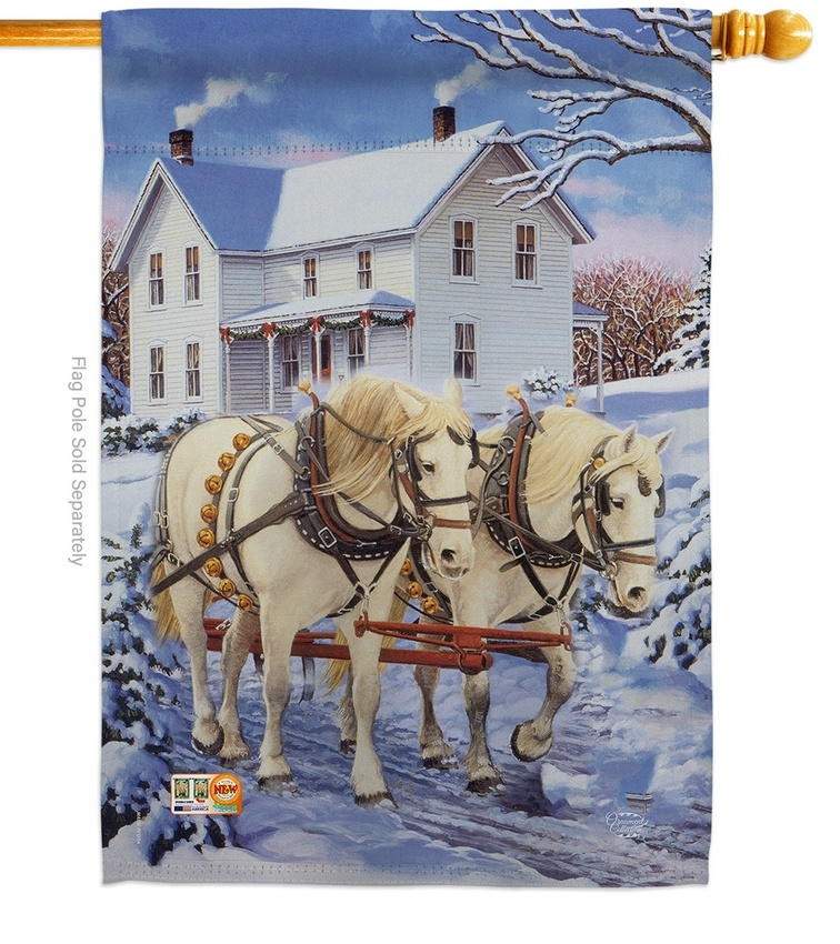 Winter Horses Decorative House Flag