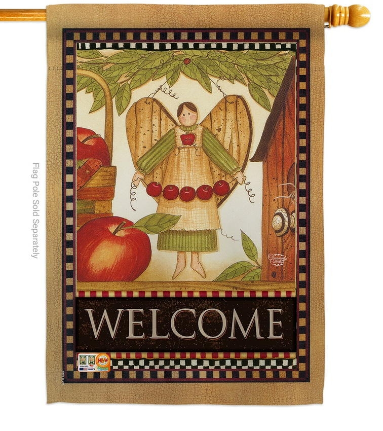 Welcome Garden Angel House Flag