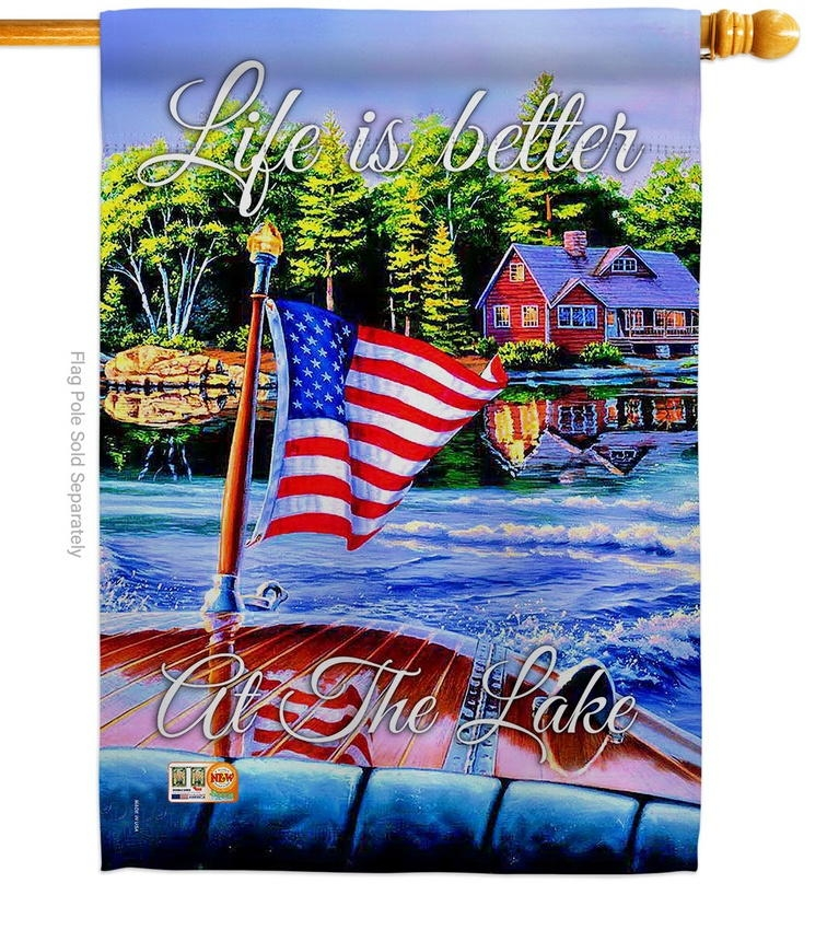 Better At The Lake Decorative House Flag