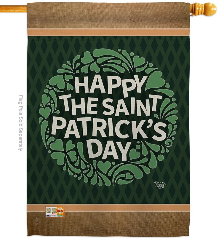 Happy Saint Patrick's Day Decorative House Flag