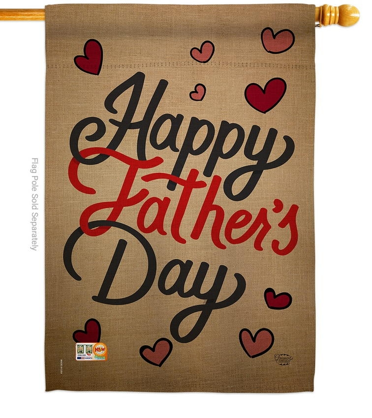 Happy Father's Day Hearts House Flag