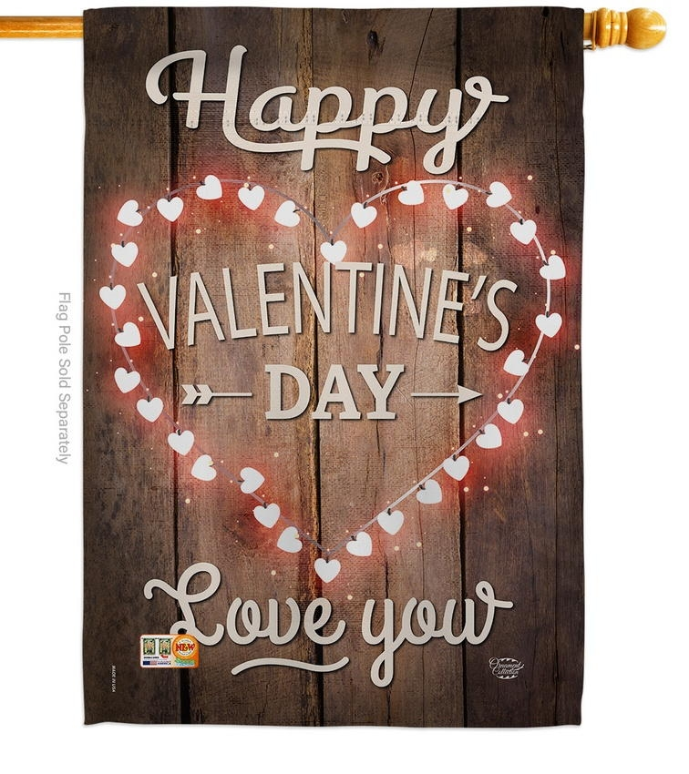 Happy Valentine's Day Decorative House Flag