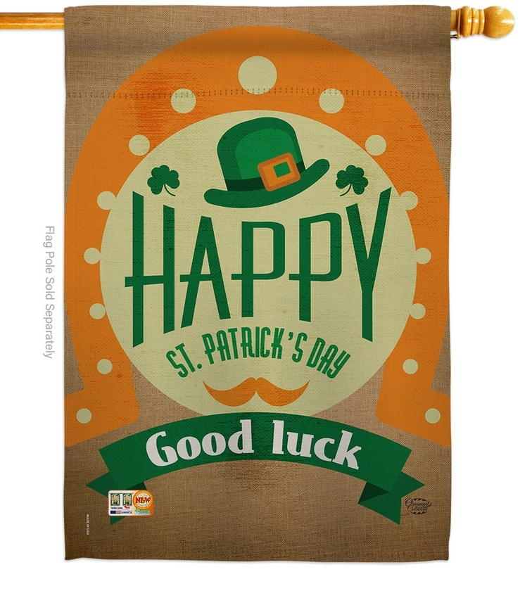Good Luck St. Patrick's Day Decorative House Flag
