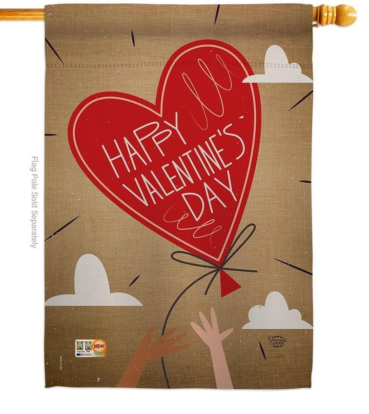 Sweet Valentine's Day Balloon House Flag