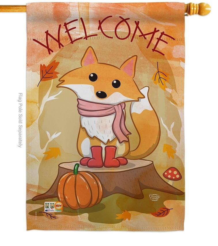 Welcome Fall Foxy House Flag
