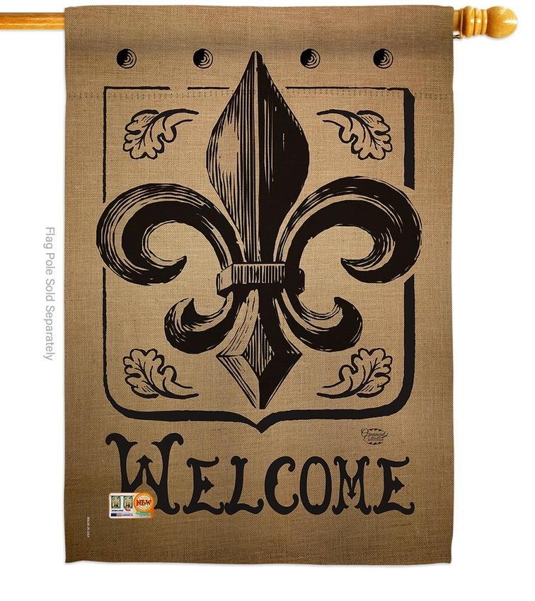 Welcome Fleur De Lys House Flag