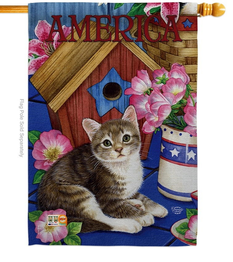 America Proud Kitten Cat House Flag