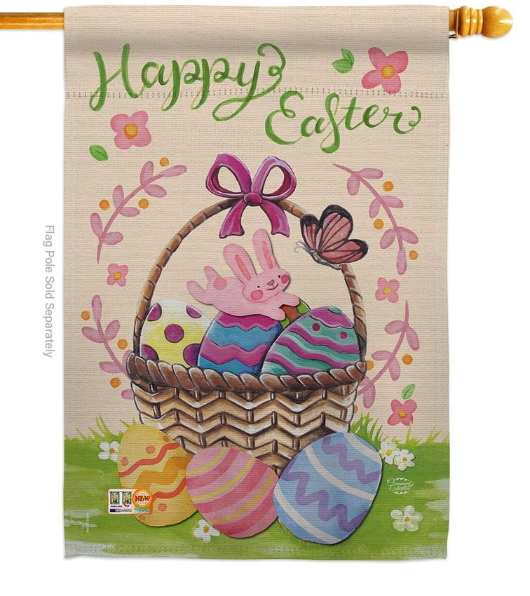 Happy Easter Colourful Basket Eggs House Flag