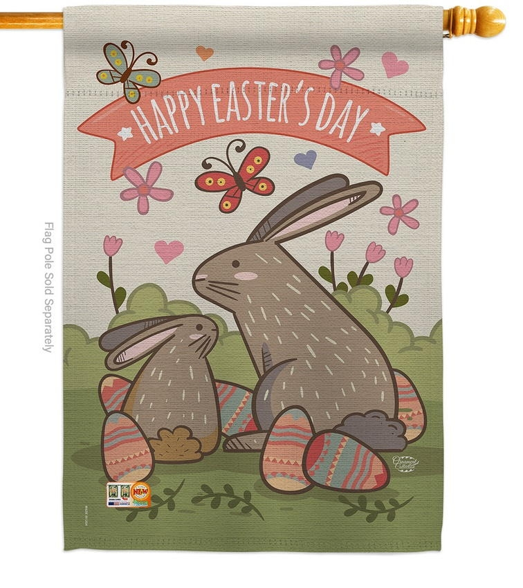 Happy Easter's Day Colourful Bunny Eggs House Flag