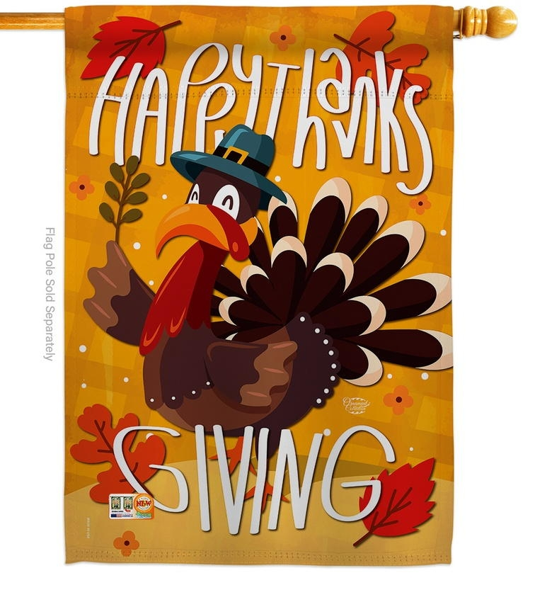 Happy Thanks Giving Turkey House Flag