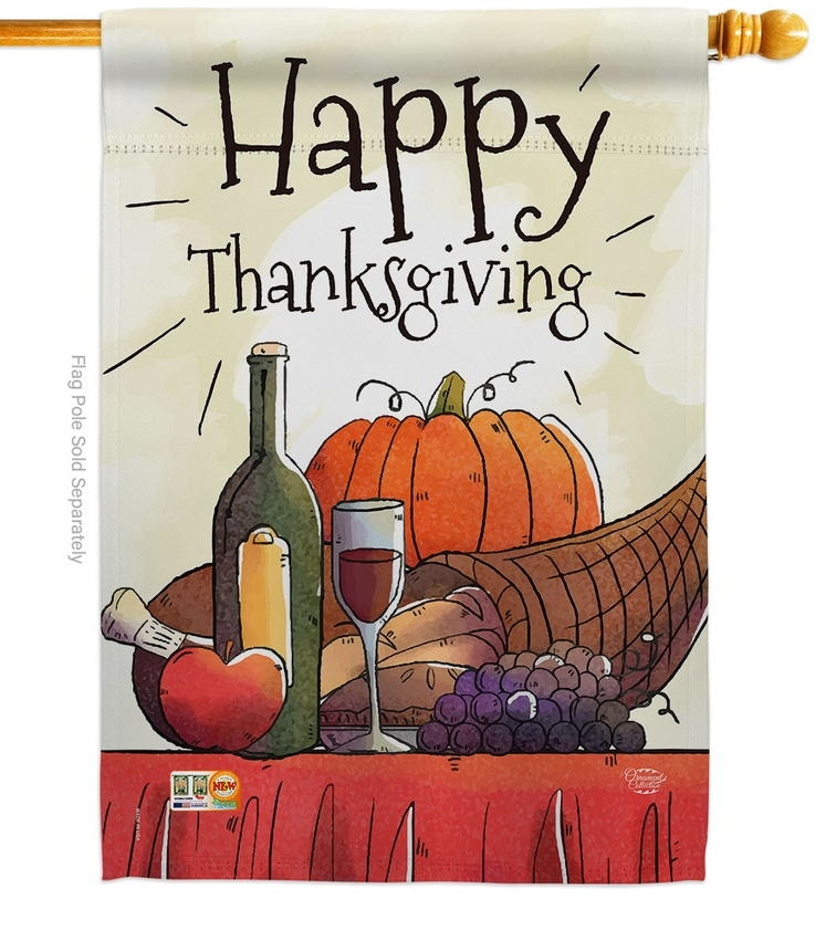 Happy Thanksgiving Feast Table House Flag