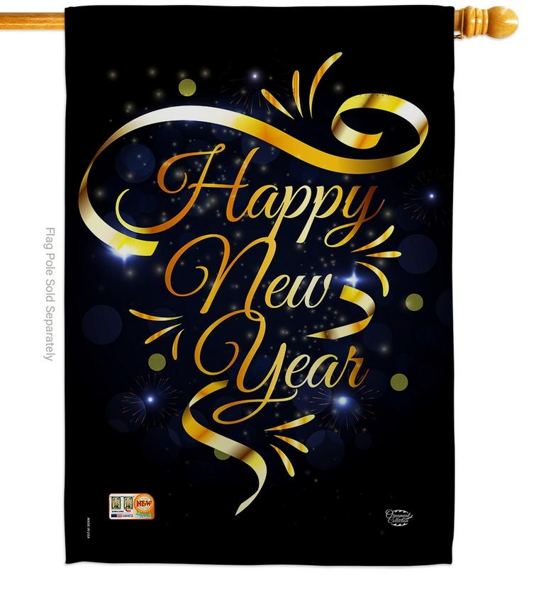 Gold Happy New Year House Flag