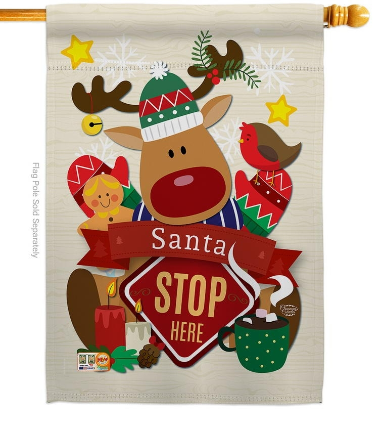 Santa Stop Here Decorative House Flag