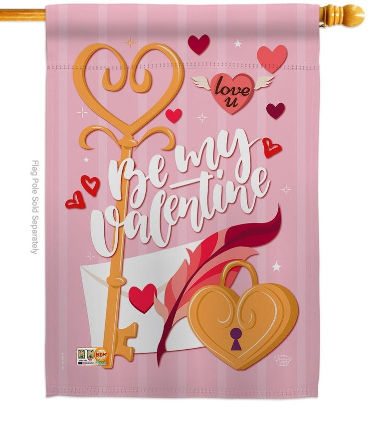 Be My Valentine Decorative House Flag