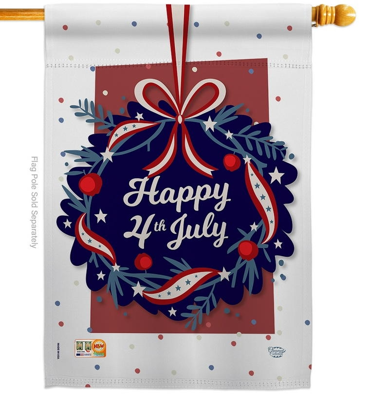 Happy 4th Of July Decorative House Flag