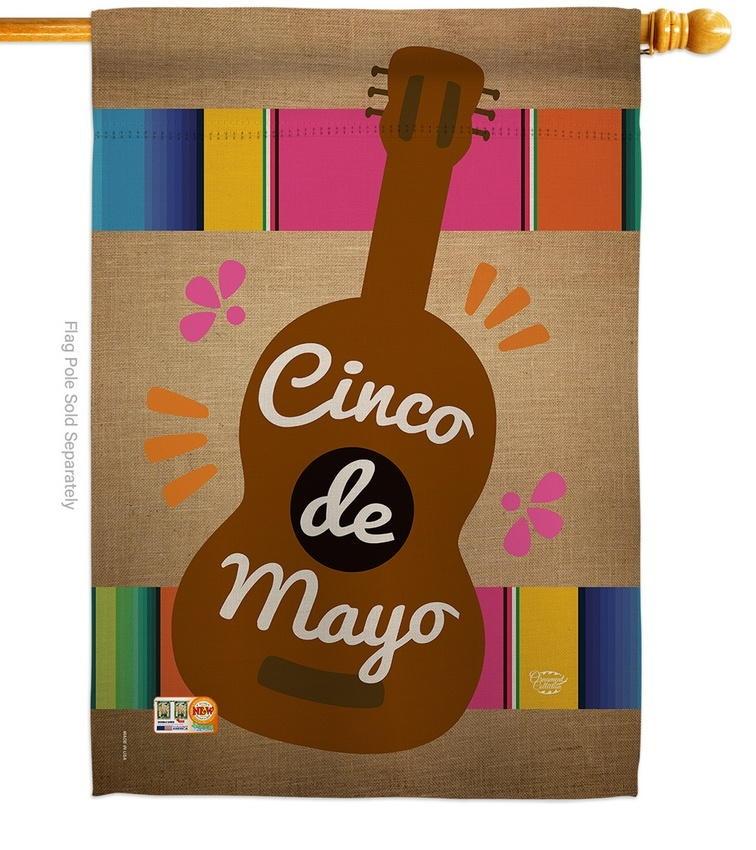 Celebrate Guitarron Cinco de Mayo House Flag