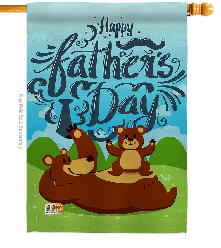 Beary Happy Father's Day House Flag