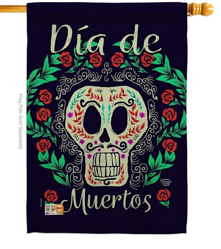 Dia De Muertos Skeleton House Flag