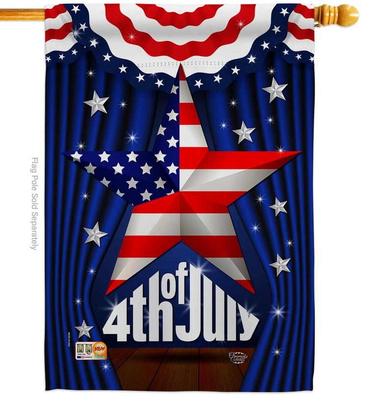 Stars 4th Of July Decorative House Flag