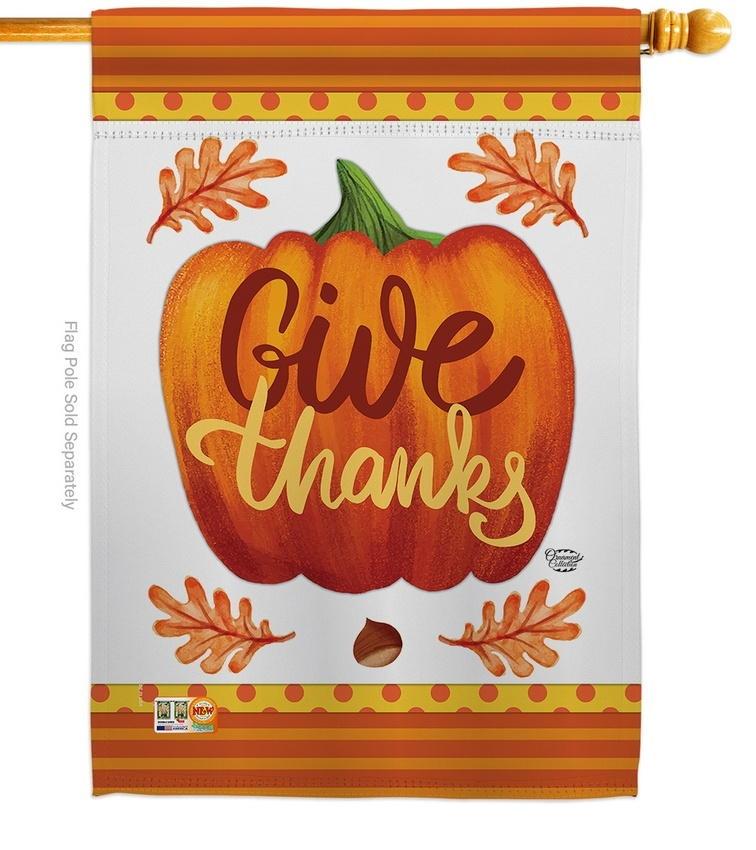 Pumpkin Give Thanks House Flag