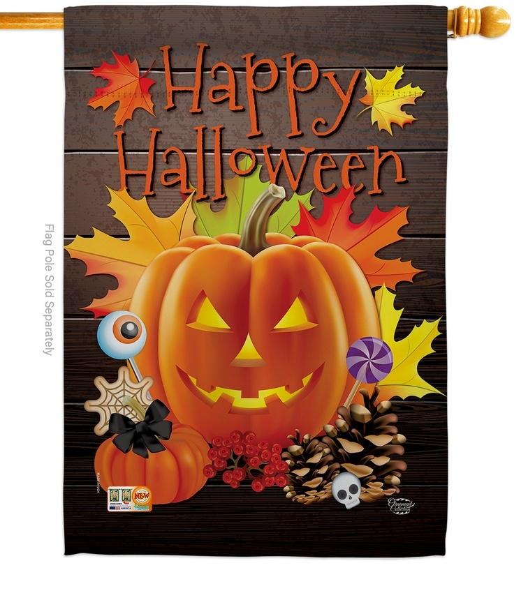 Evil Halloween Pumpkin House Flag