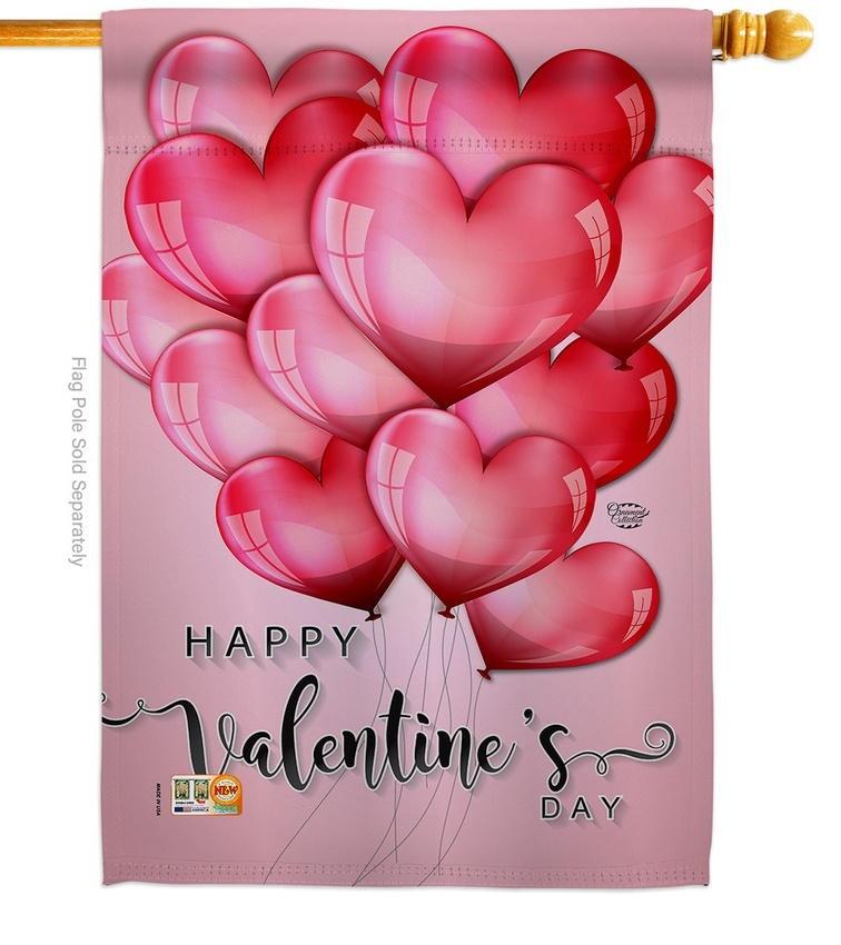 Happy Love Balloons House Flag