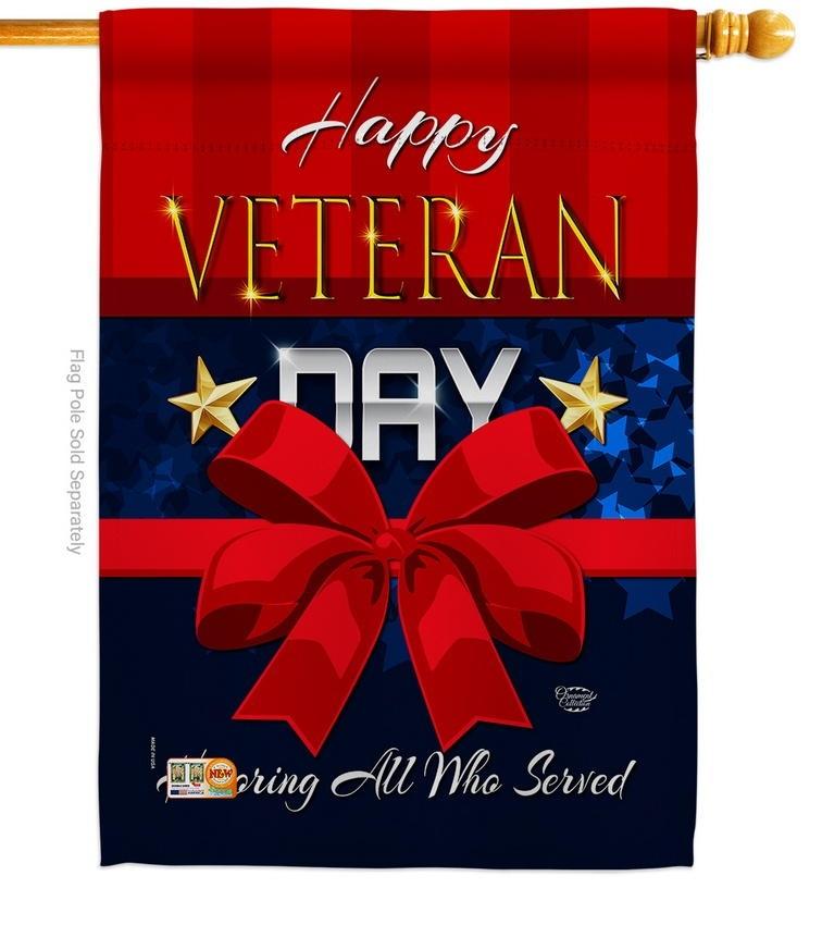 Happy Veteran Day Decorative House Flag