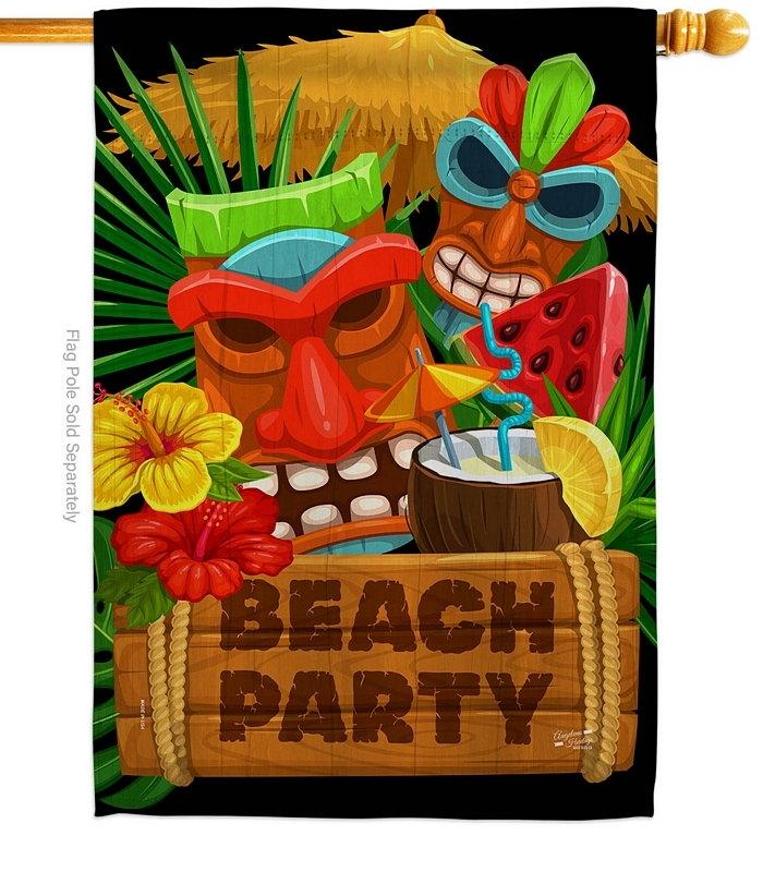Tiki Beach Party House Flag