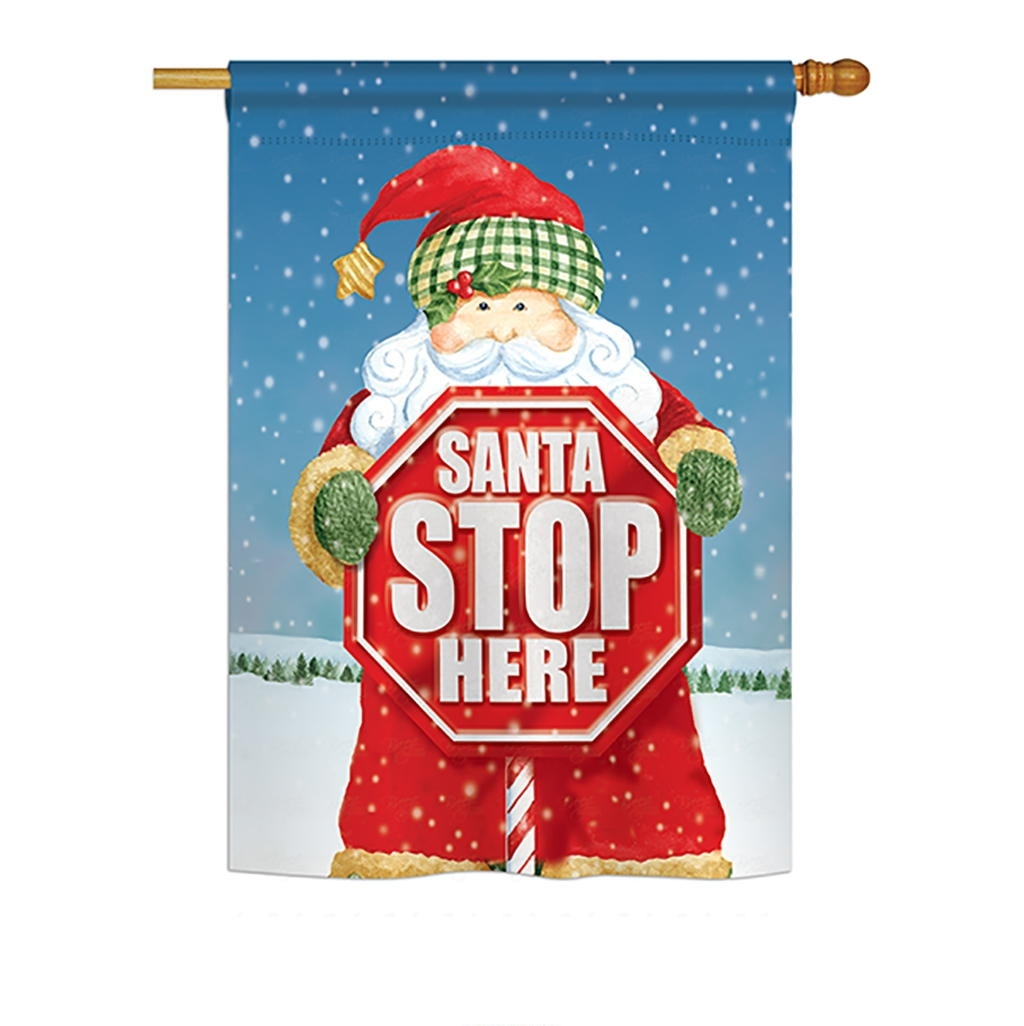 Santa Stop Here House Flag