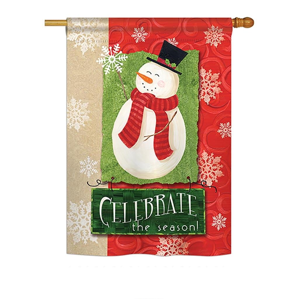 Celebrate The Season Snowman House Flag