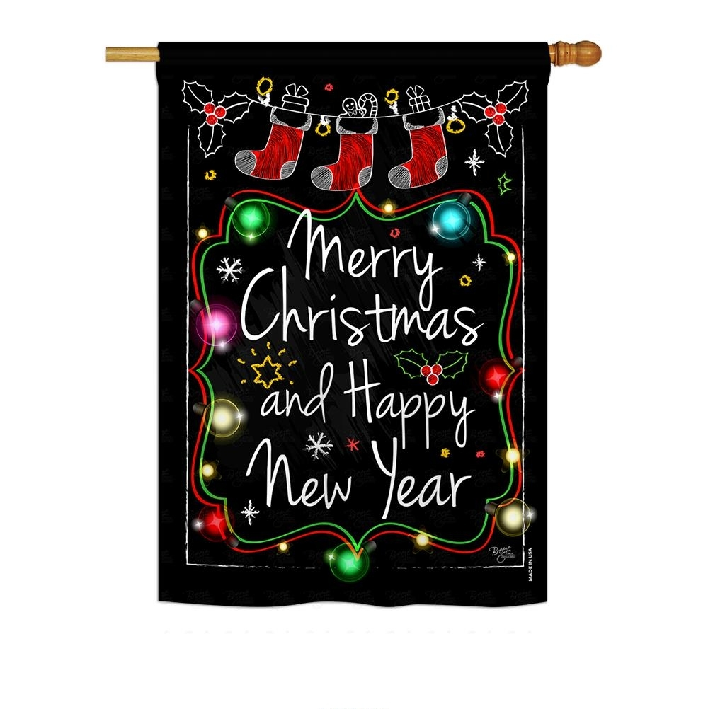 Chalkboard Merry Christmas House Flag