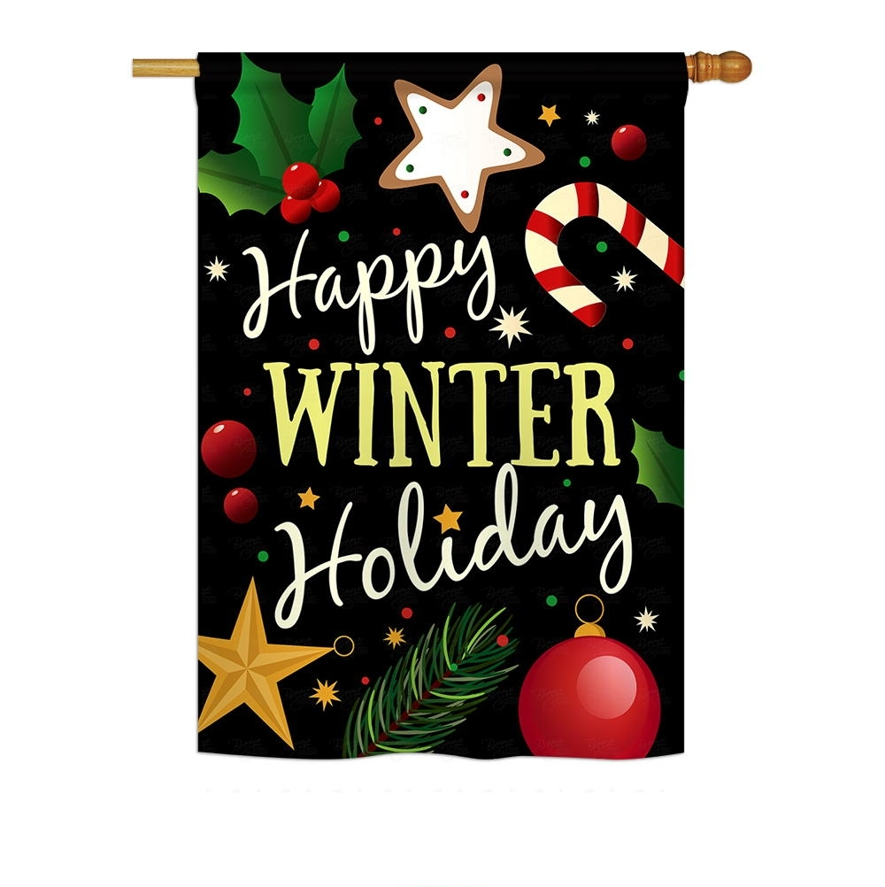 Happy Winter Holiday House Flag
