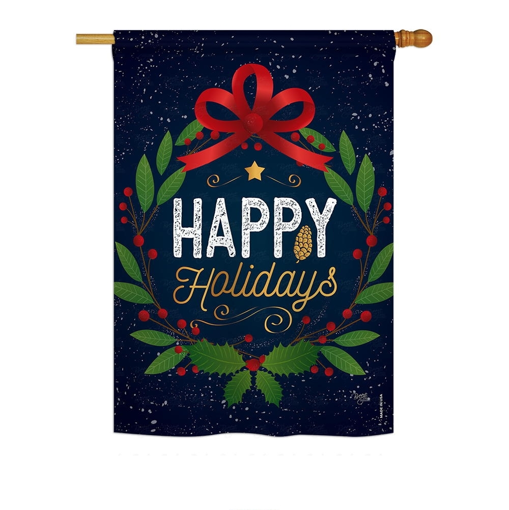 Happy Holidays Wreath House Flag