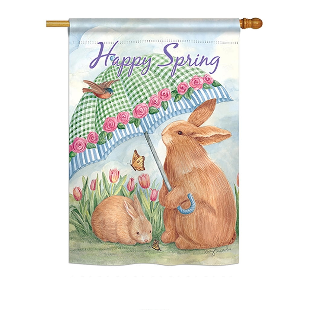 Bunnies With Umbrella House Flag