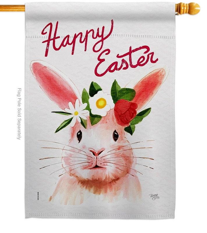 Sweet Easter Bunny House Flag
