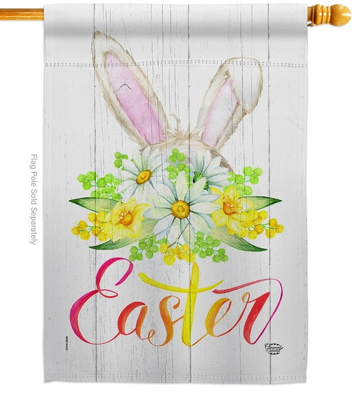 Floral Easter House Flag